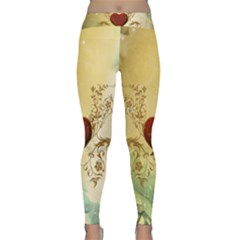 Wonderful Decorative Heart On Soft Vintage Background Classic Yoga Leggings by FantasyWorld7