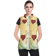 Wonderful Decorative Heart On Soft Vintage Background Women s Puffer Vest by FantasyWorld7
