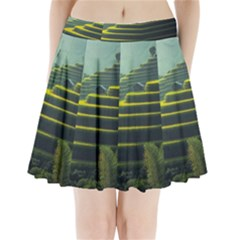 Scenic View Of Rice Paddy Pleated Mini Skirt