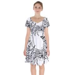 Line Art Drawing Ancient Chariot Short Sleeve Bardot Dress by Samandel