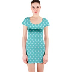 Mint Hearts Short Sleeve Bodycon Dress by chihuahuadresses