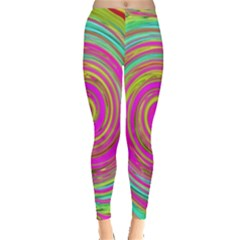 Groovy Abstract Pink, Turquoise And Yellow Swirl Leggings  by myrubiogarden