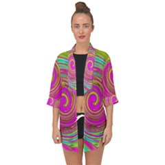 Groovy Abstract Pink, Turquoise And Yellow Swirl Open Front Chiffon Kimono by myrubiogarden