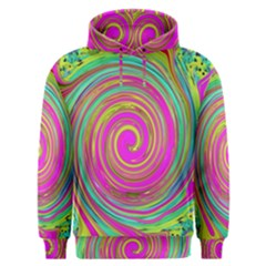 Groovy Abstract Pink, Turquoise And Yellow Swirl Men s Overhead Hoodie by myrubiogarden