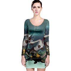 Wonderful Fmermaid With Turtle In The Deep Ocean Long Sleeve Bodycon Dress by FantasyWorld7