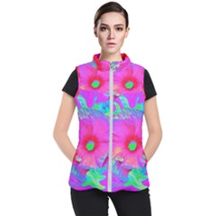 Psychedelic Pink And Red Hibiscus Flower Women s Puffer Vest by myrubiogarden