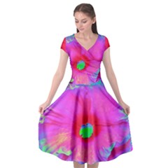 Psychedelic Pink And Red Hibiscus Flower Cap Sleeve Wrap Front Dress by myrubiogarden