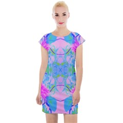 Pink And Purple Dahlia On Blue Pattern Cap Sleeve Bodycon Dress by myrubiogarden