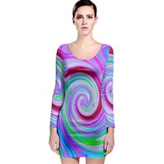 Groovy Abstract Red Swirl On Purple And Pink Long Sleeve Bodycon Dress by myrubiogarden