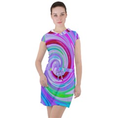 Groovy Abstract Red Swirl On Purple And Pink Drawstring Hooded Dress by myrubiogarden
