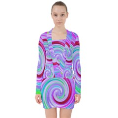 Groovy Abstract Red Swirl On Purple And Pink V Neck Bodycon Long Sleeve Dress by myrubiogarden