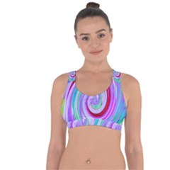 Groovy Abstract Red Swirl On Purple And Pink Cross String Back Sports Bra by myrubiogarden