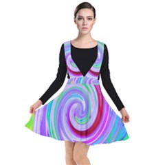 Groovy Abstract Red Swirl On Purple And Pink Plunge Pinafore Dress by myrubiogarden