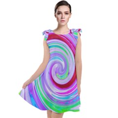 Groovy Abstract Red Swirl On Purple And Pink Tie Up Tunic Dress by myrubiogarden
