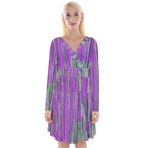 Violet Paint Long Sleeve Front Wrap Dress