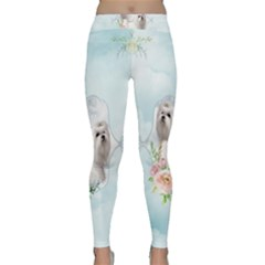 Cute Little Maltese With Flowers Classic Yoga Leggings by FantasyWorld7