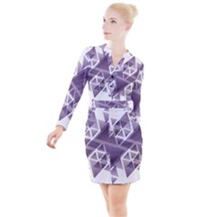 Geometry Triangle Abstract Button Long Sleeve Dress