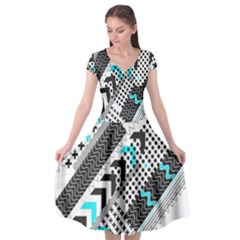 Green Geometric Abstract Cap Sleeve Wrap Front Dress by Mariart