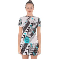 Green Geometric Abstract Drop Hem Mini Chiffon Dress