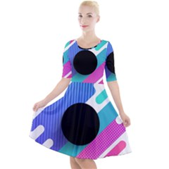 Cool Geometric Combination Of Decorative Circular Vector Background Quarter Sleeve A Line Dress by AnjaniArt