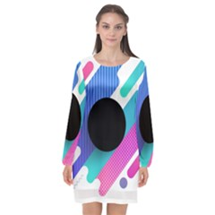 Cool Geometric Combination Of Decorative Circular Vector Background Long Sleeve Chiffon Shift Dress  by AnjaniArt