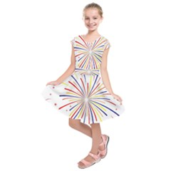 Graphic Fireworks Decorative Kids  Short Sleeve Dress