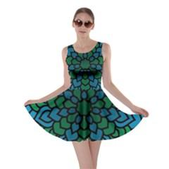 Green Blue Mandala Vector Skater Dress