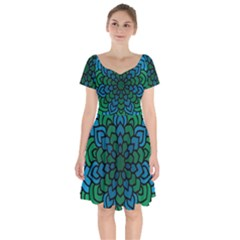 Green Blue Mandala Vector Short Sleeve Bardot Dress by Alisyart