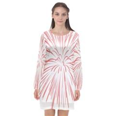 Red Firework Transparent Long Sleeve Chiffon Shift Dress  by Jojostore