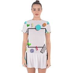 Abstract Geometric Triangle Dots Border Drop Hem Mini Chiffon Dress by Alisyart