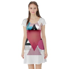 Geometric Line Patterns Short Sleeve Skater Dress by Mariart