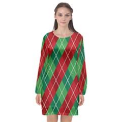 Christmas Triangle Long Sleeve Chiffon Shift Dress