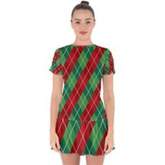 Christmas Triangle Drop Hem Mini Chiffon Dress by AnjaniArt
