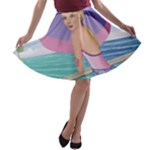 Palm Beach Purple Fine Art Sharon Tatem Fashion Apparel and Products A-line Skater Skirt