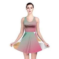 Pink Abstract Triangle Reversible Skater Dress by Jojostore