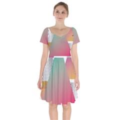 Pink Abstract Triangle Short Sleeve Bardot Dress