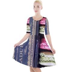 Laduree Macaron Paris Quarter Sleeve A-line Dress by Bejoart