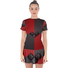 Harley Quinn Black Diamond Drop Hem Mini Chiffon Dress by Bejoart