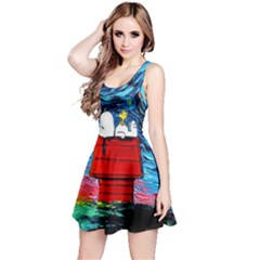 Dog Painting Stary Night Vincet Van Gogh Parody Reversible Sleeveless Dress