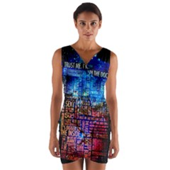 Doctor Who Quotes,trust Me Im Doctor Wrap Front Bodycon Dress by Bejoart