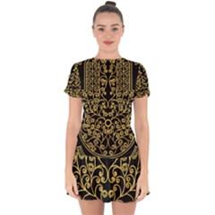 Hamsa Hand Drop Hem Mini Chiffon Dress