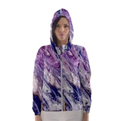 Marble Pattern Texture Hooded Windbreaker (women) by Bejoart
