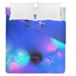 Love In Action, Pink, Purple, Blue Heartbeat Duvet Cover Double Side (Queen Size)