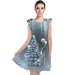Christmas, Cute Giraffe With Bird Tie Up Tunic Dress by FantasyWorld7