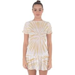 Yellow Firework Transparent Drop Hem Mini Chiffon Dress by Mariart