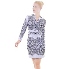 Star Flower Mandala Button Long Sleeve Dress