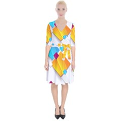 Colorful Abstract Geometric Squares Wrap Up Cocktail Dress by Alisyart