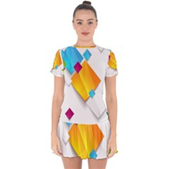Colorful Abstract Geometric Squares Drop Hem Mini Chiffon Dress