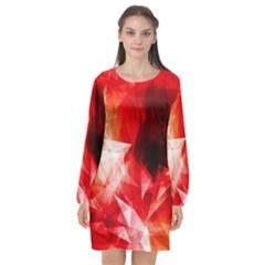 Colorful Geometric Triangle Diamond Long Sleeve Chiffon Shift Dress