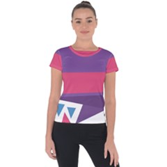 Triangle Fragment Ribbon Title Box Short Sleeve Sports Top  by AnjaniArt